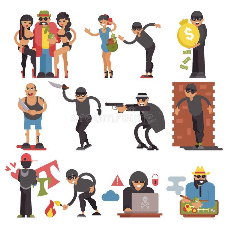 Brottslingvektorinbrottstjuvar eller inbrottstjuvteckenet av brottslig folkillustrationbrottslighet ställde in av bandittjuv och royaltyfri illustrationer