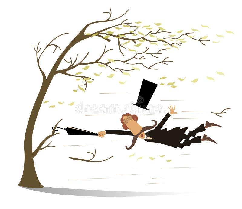 Brottstycken för stark vind, paraply- och manupp en trädillustration stock illustrationer