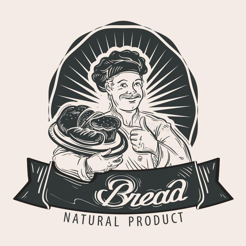 Brotvektorlogo-Designschablone Kochen, Lebensmittel lizenzfreie abbildung