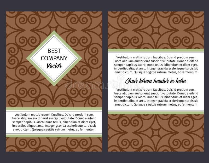 Brouchure με το εκλεκτής ποιότητας καφετί σχέδιο στροβίλου διανυσματική απεικόνιση