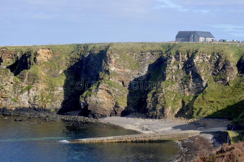 Brough Slipway Pier. Brough is a small village with population 66, in Caithness North Scotland. Brough is the most Northerly village on the British Mainland stock photography