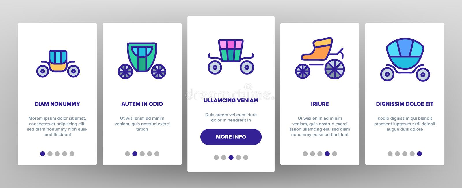 Brougham Onboarding Icons Set Vector 库存例证