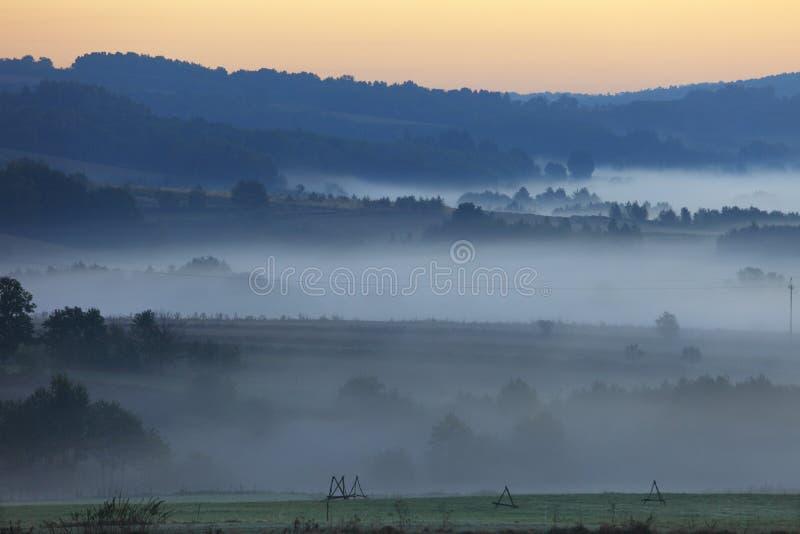 Brouillard de matin au-dessus des champs et des prés de région de Podkarpacie en Pologne photographie stock