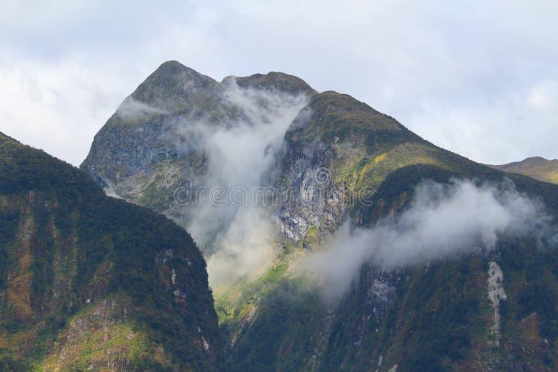 Brouillard de matin le long du bruit douteux, parc national de Fiordland, île du sud, Nouvelle-Zélande photo libre de droits