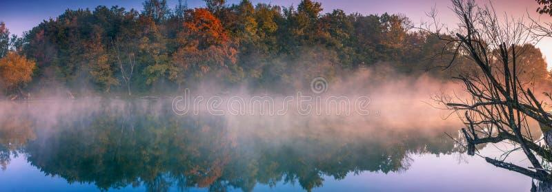 Brouillard de matin sur le lac image libre de droits