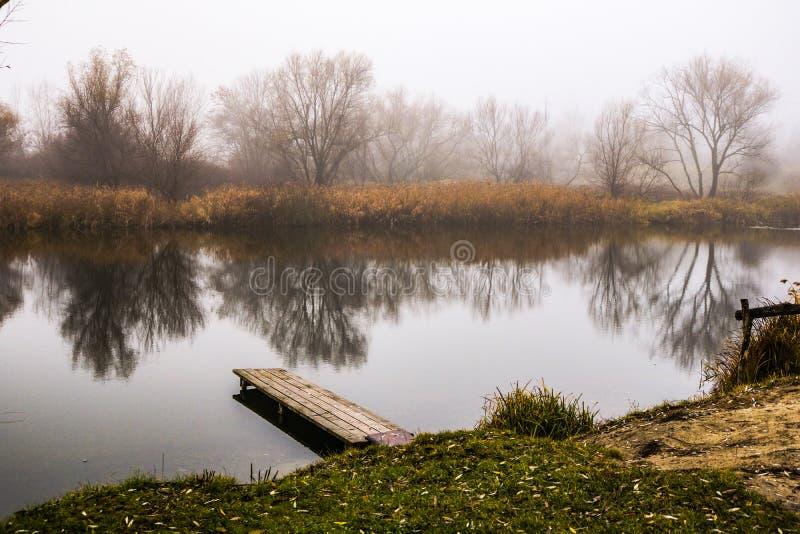Brouillard et lac en Hongrie photographie stock libre de droits