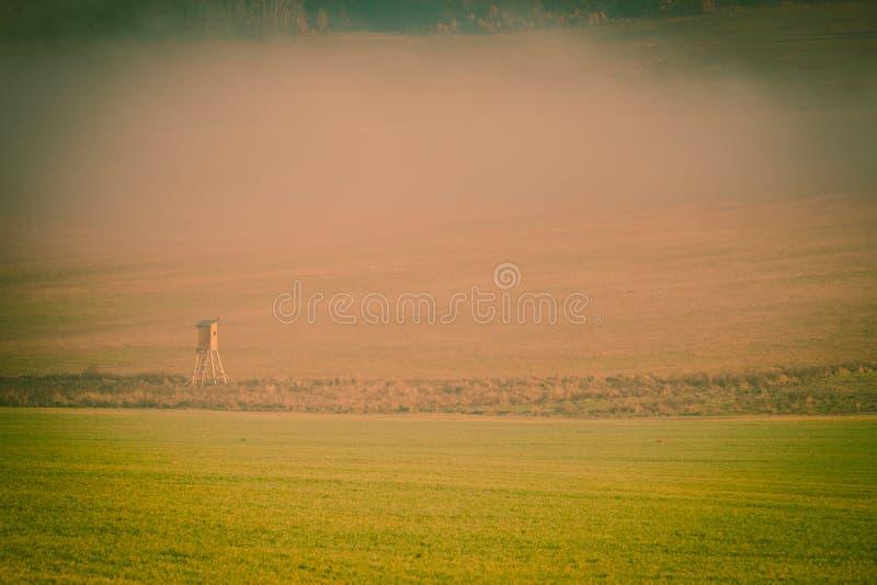 Brouillard flou de paysage au-dessus de champ vert Slovaquie images libres de droits