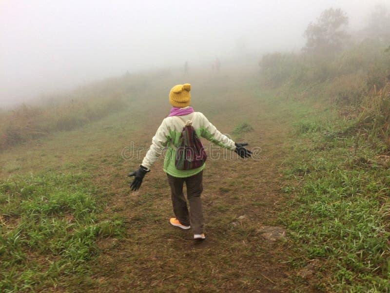 Brouillard heureux de femmes dans la montagne de forêt images stock