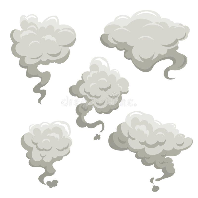 Brouillard ou fumée après ensemble d'exposion Illustrations simples plates de vecteur de style de gradient de bande dessinée illustration stock