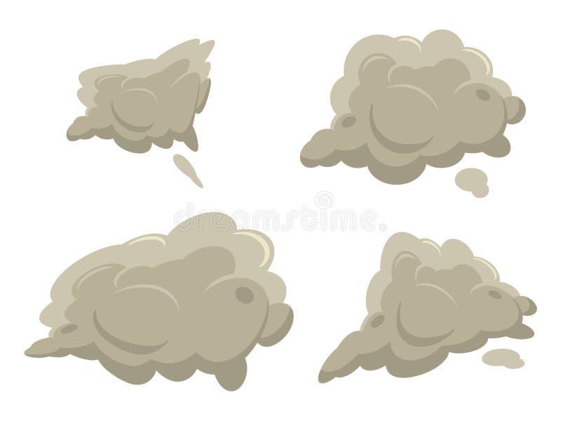 Brouillard ou fumée après ensemble d'exposion Illustrations simples plates de vecteur de style de gradient de bande dessinée Meil illustration stock
