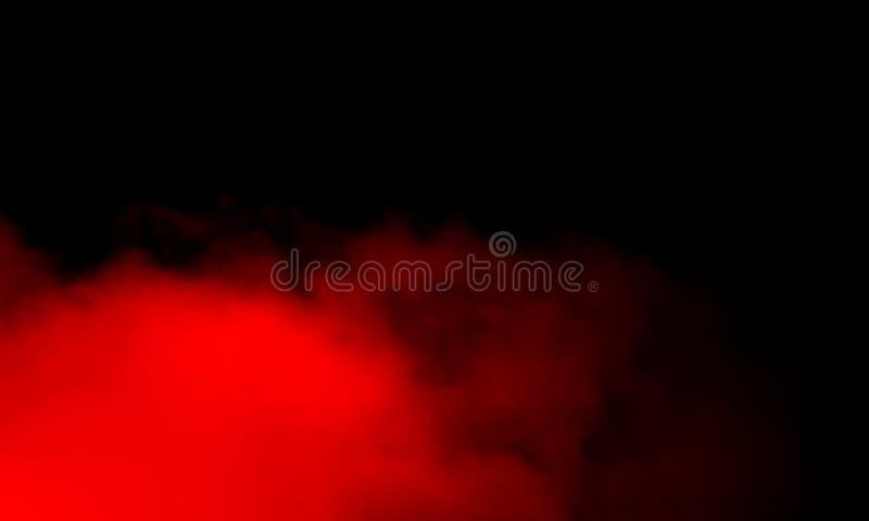 Brouillard rouge abstrait de brume de fumée sur un fond noir photo stock