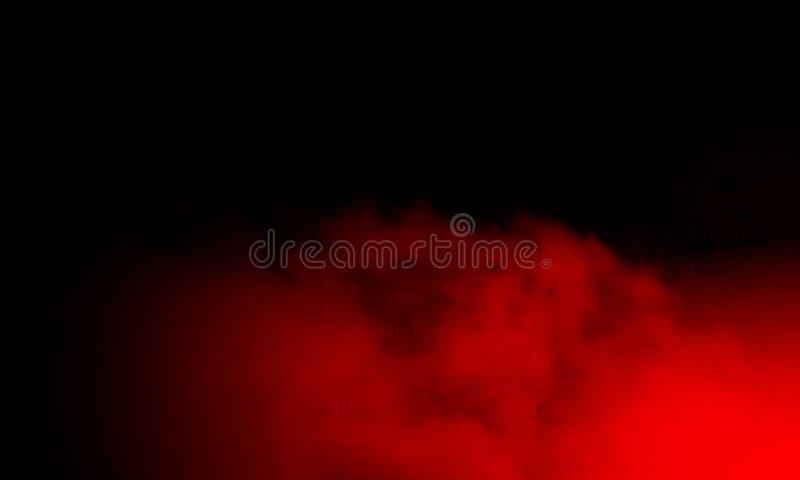 Brouillard rouge abstrait de brume de fumée sur un fond noir photos stock