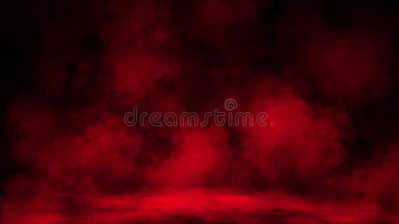 Brouillard rouge abstrait de brume de fum?e sur un fond noir Texture photos libres de droits