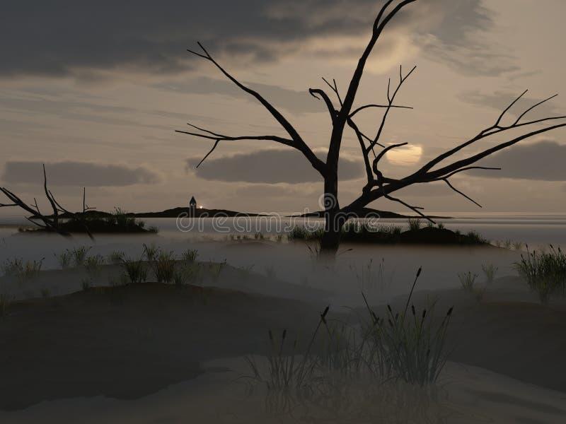 Brouillard sur le marais illustration libre de droits