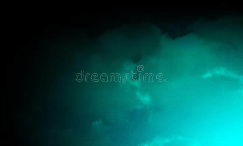 Brouillard vert abstrait de brume de fumée sur un fond noir texture, d'isolement illustration libre de droits