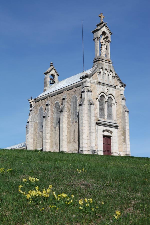 Brouilly教堂在博若莱红葡萄酒 免版税图库摄影