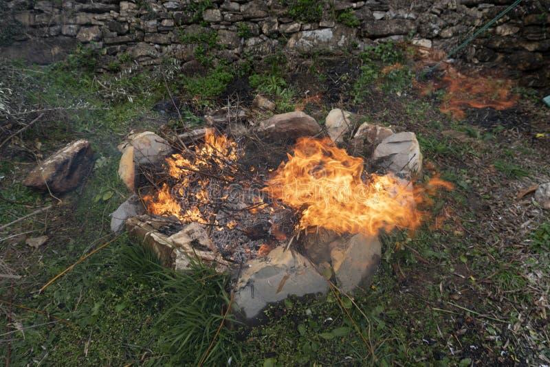 Broussaille brûlant en feu photos libres de droits