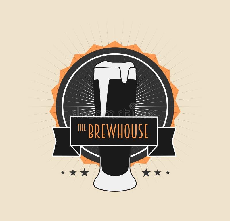 Brouw Huis Uitstekende Logotype op lichte achtergrond vector illustratie