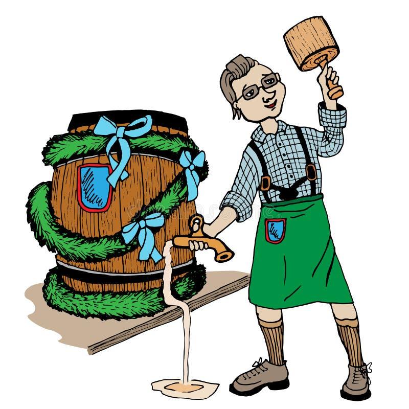 Brouwer met een vaatje, Oktoberfest-Bierfestival, Vector vector illustratie