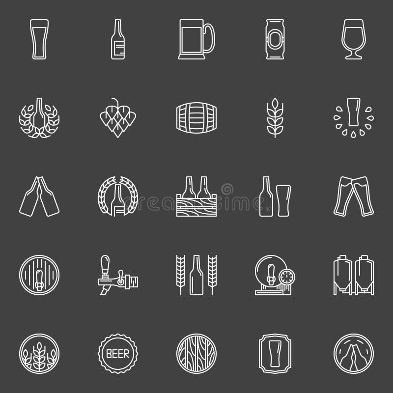 Brouwerij en bierpictogrammen vector illustratie
