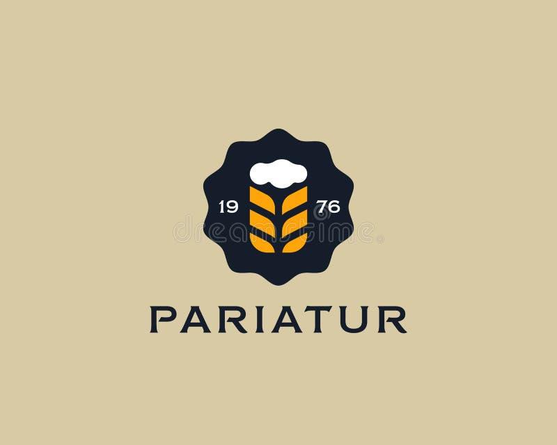 Brouwerij logotype Het ontwerpmalplaatje van het bierembleem Bar modern symbool Het gestileerde embleem van het mokkenteken royalty-vrije illustratie