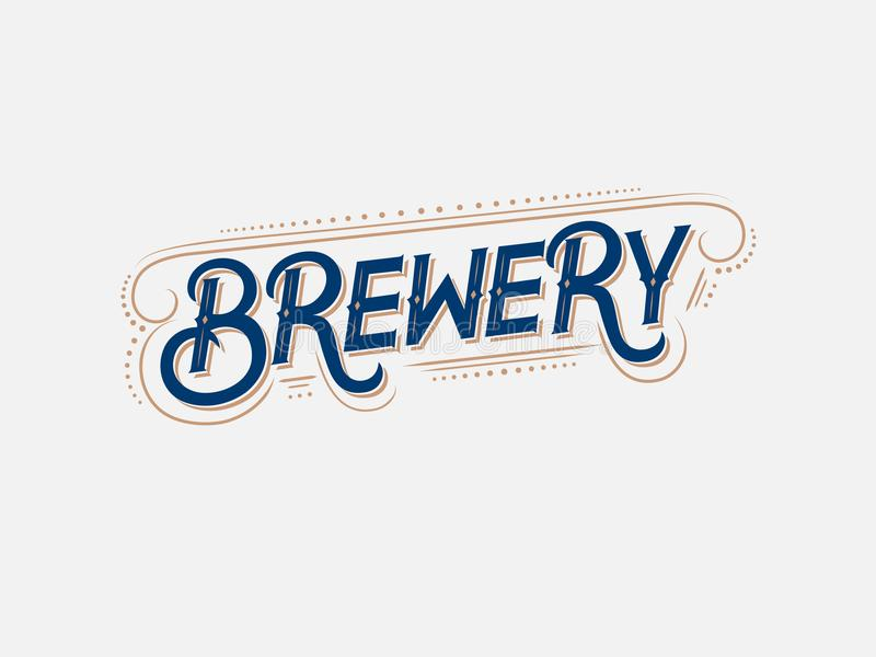 Brouwerij uitstekend embleem, etiket, kenteken vector illustratie