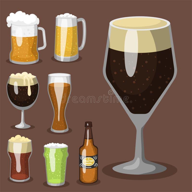Brouwerij van de de illustratieverfrissing van het alcoholbier drinken de vector en de mok ijzige ambacht van de partij de donker stock illustratie
