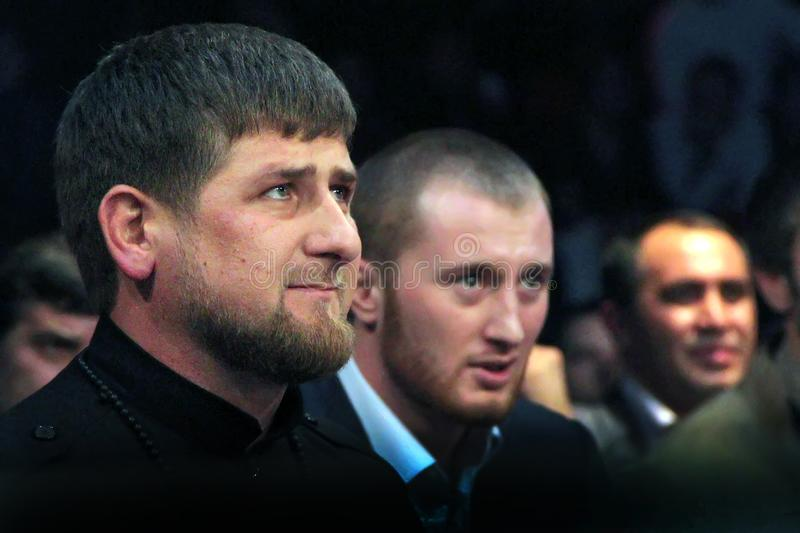 Brovary, UKRAINE, 4.12.2010 Chechen President Ramzan Kadyrov. Is sitting in auditorium as a spectator among other spectators royalty free stock images
