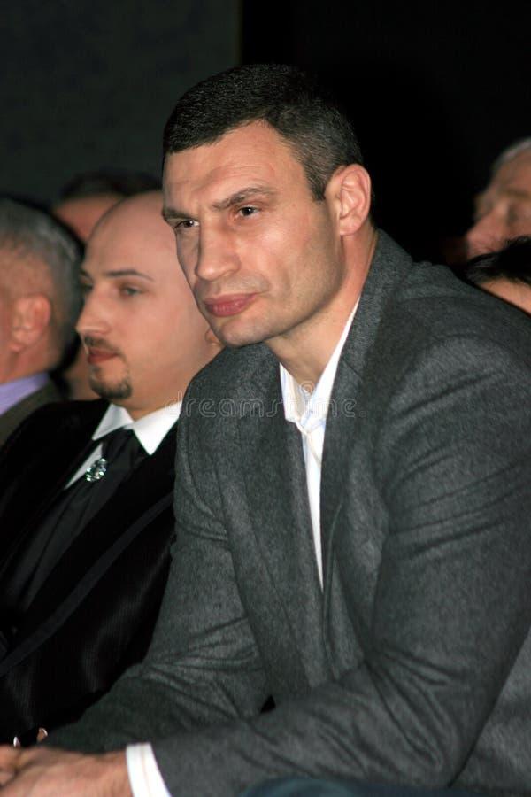 Brovary, UKRAINE,03.03.2010 Ukrainian politician, boxer Vitali Klitschko. Is sitting in auditorium as a spectator royalty free stock photography