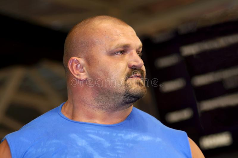 Brovary. Ukraine 29.12.2006 World's Strongest Man 2004 Vasyl Virastyuk. He is dressed in a blue T-shirt royalty free stock photos