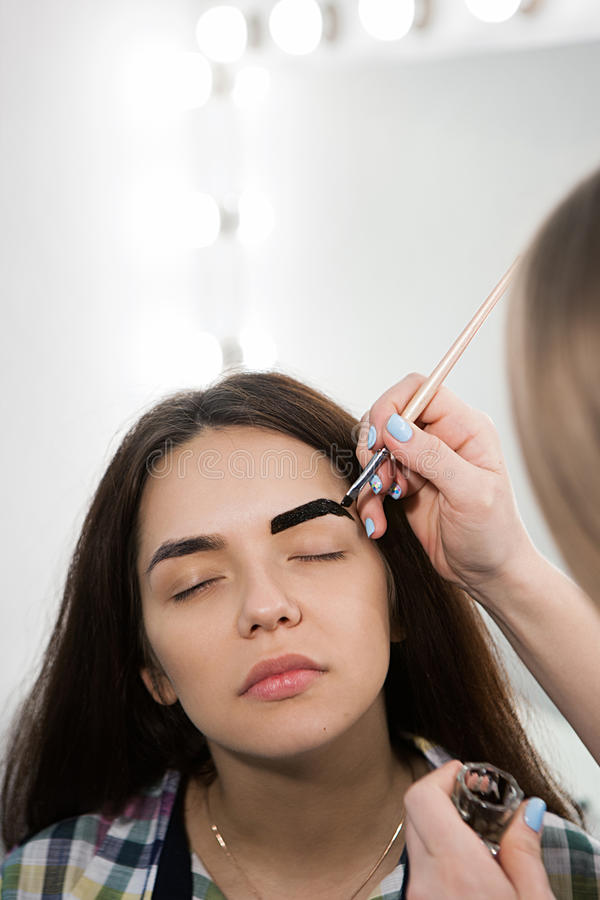 Brow Master At Work. Dying Brows Stock Image - Image of facial ...