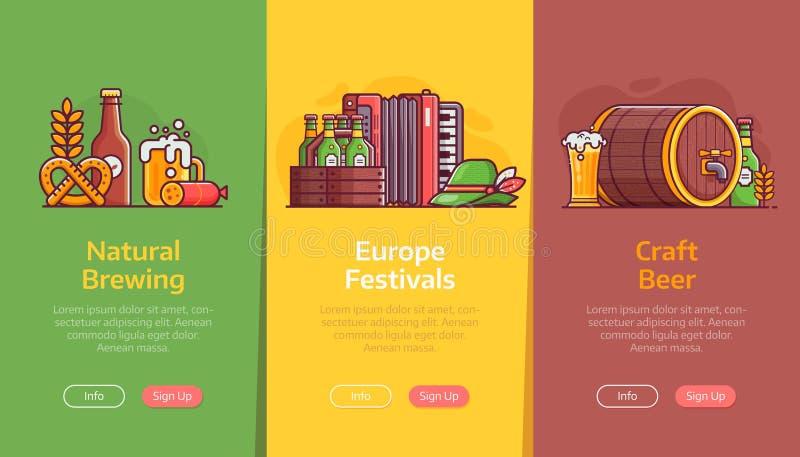 Browaru i rzemiosła festiwalu Piwni sztandary ilustracja wektor