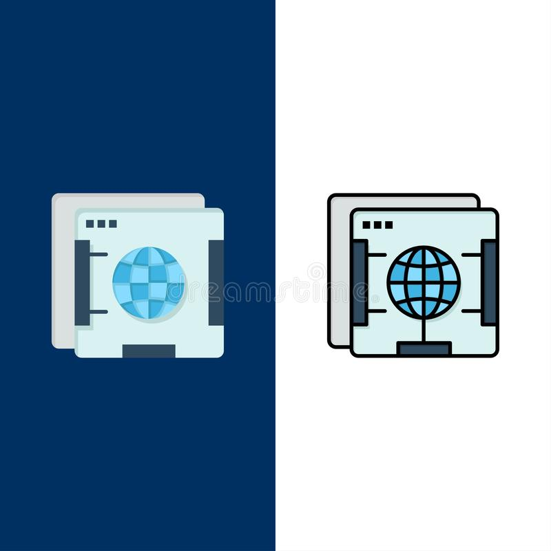 Brower, Internet, Web, Globe  Icons. Flat and Line Filled Icon Set Vector Blue Background royalty free illustration