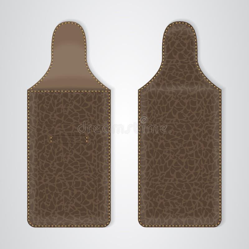 Brown überziehen Kasten für das Telefon auf zwei Arten mit Leder lizenzfreie abbildung