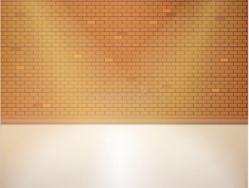 Brown ściana z cegieł i drewniana podłoga Pusty wektorowy wnętrze ilustracja wektor