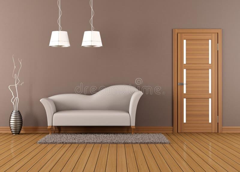 Brown żywy pokój z białą kanapą royalty ilustracja