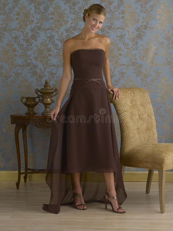 Brown-Abend-Kleid stockbild