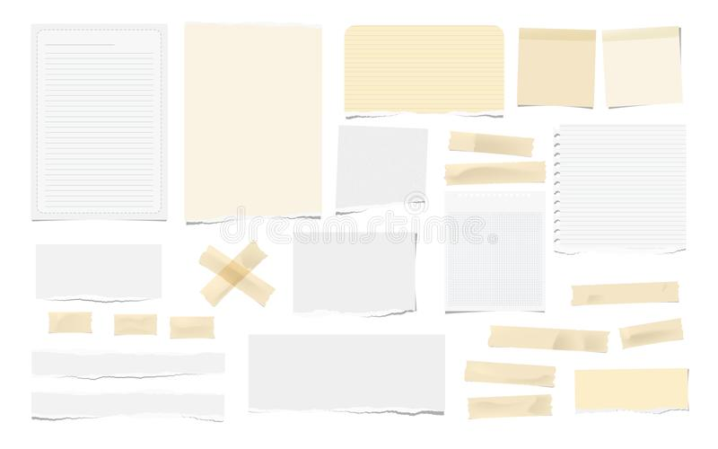 Brown adhesive, sticky, masking, duct tape pieces, white torn note, notebook paper for text are isolated on white. Background vector illustration