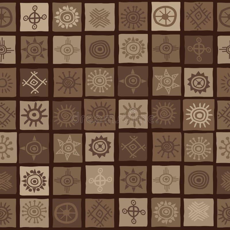 Brown afrykański tło z słońce symbolami ilustracji