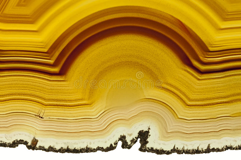 Brown Agate. Close up of a Slice Brown Agate Gemstone stock photography