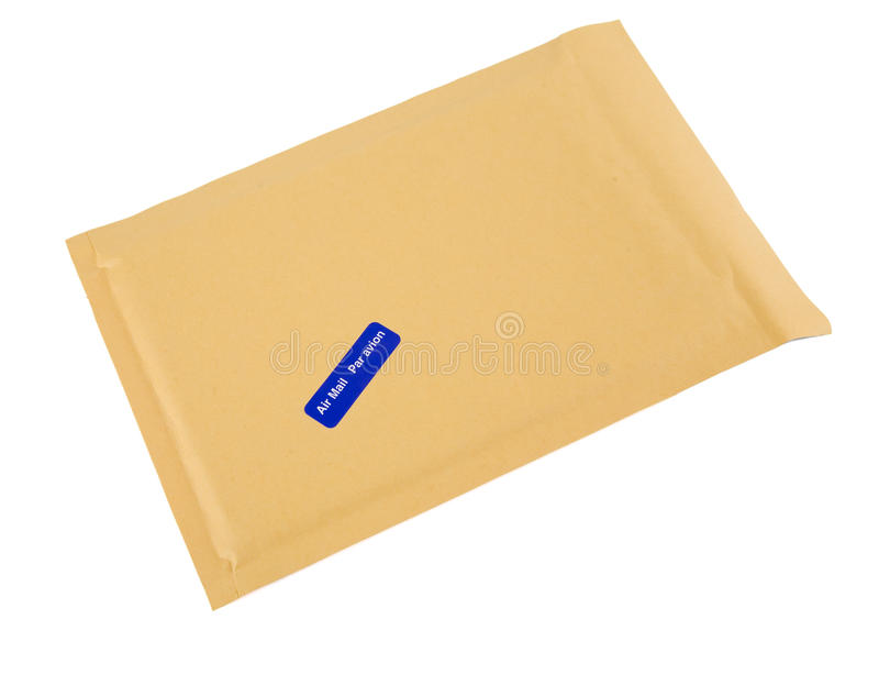 Brown Airmail envelope. A brown bubble padded envelope with an airmail (in both English and French) sticker attached stock photos