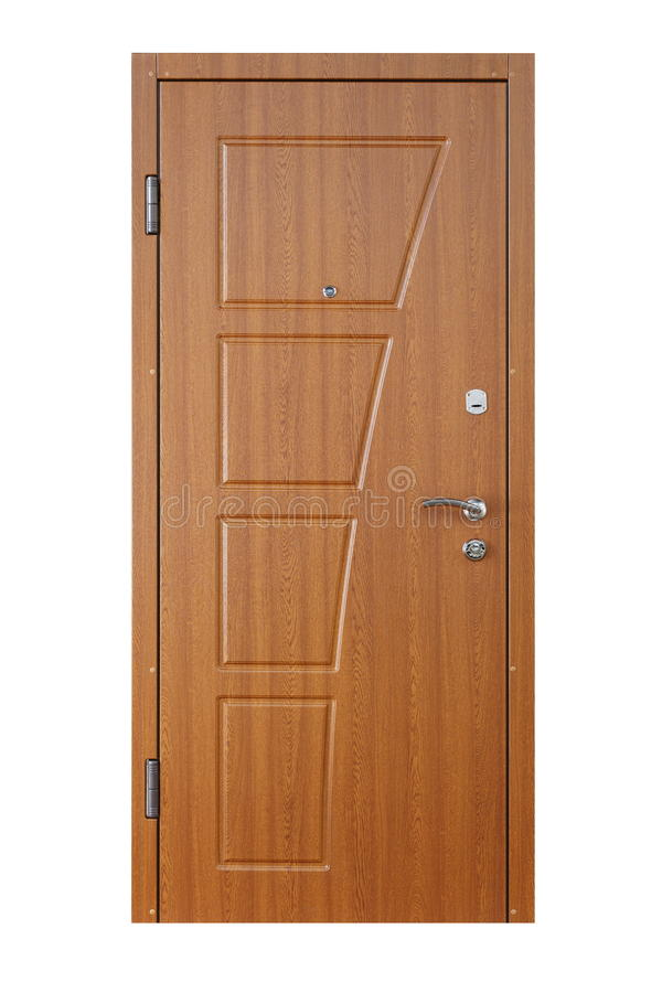 Brown alder wood closed door isolated on white stock image