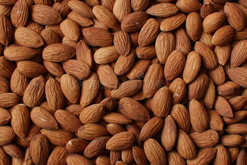 Brown almond nuts background texture. Brown almond nuts backdround texture royalty free stock photography