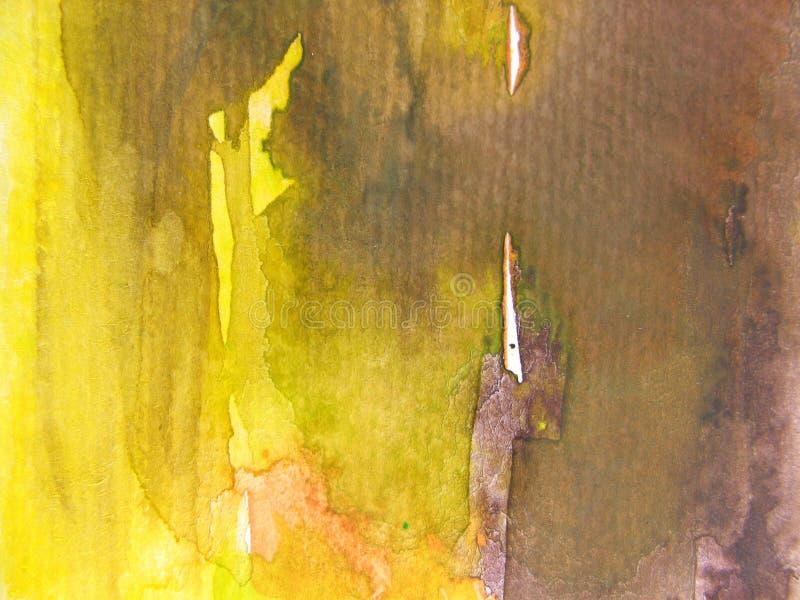 Brown & priorità bassa gialla 3 dell'acquerello fotografia stock libera da diritti