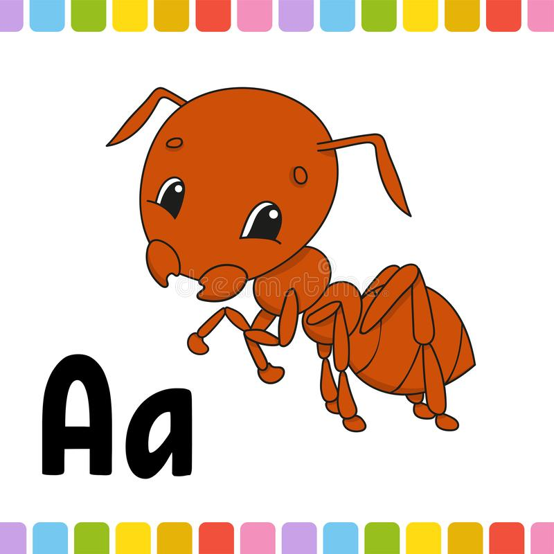 Brown ant. Animal alphabet. Zoo ABC. Cartoon cute animals isolated on white background. For kids education. Learning letters. stock illustration