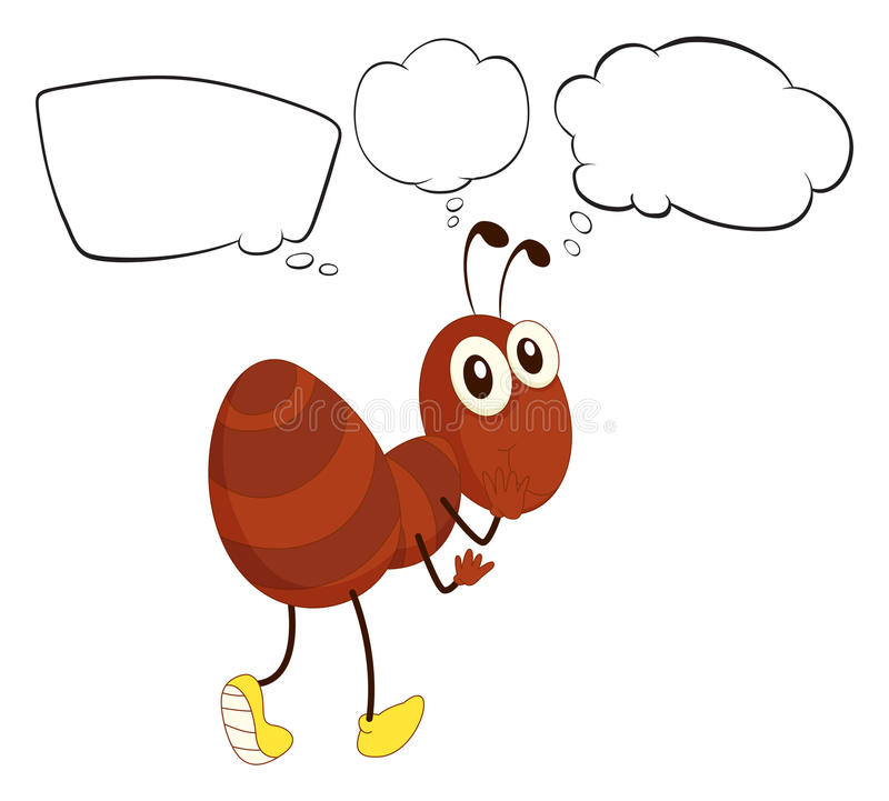 A brown ant with empty thoughts. Illustration of a brown an with empty thoughts on a white background vector illustration