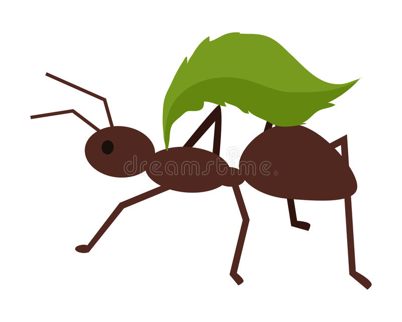 Brown Ant with Green Leaf stock illustration