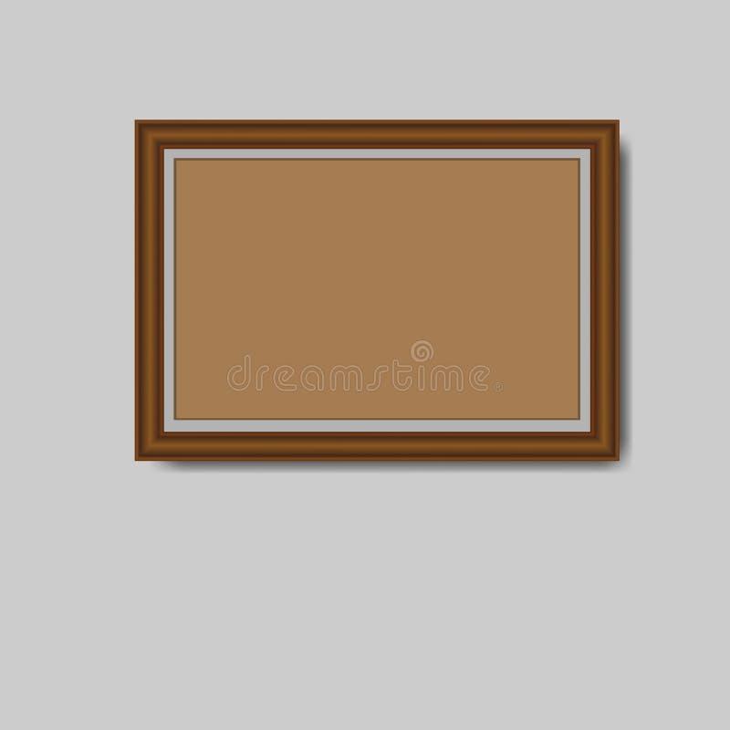 Brown anula o quadro da foto isolado no fundo cinzento Illu do vetor ilustração royalty free