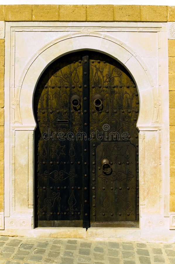 Brown arabian door stock photography