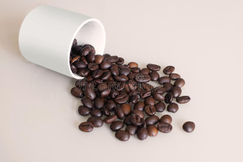 Brown arabica coffee beans with cup on light background. Shiny fresh roasted arabica coffee beans with white cup on beige background royalty free stock photos